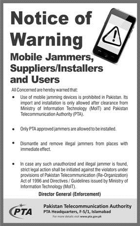 PTA Illegal Mobile Phone Jammers Notice